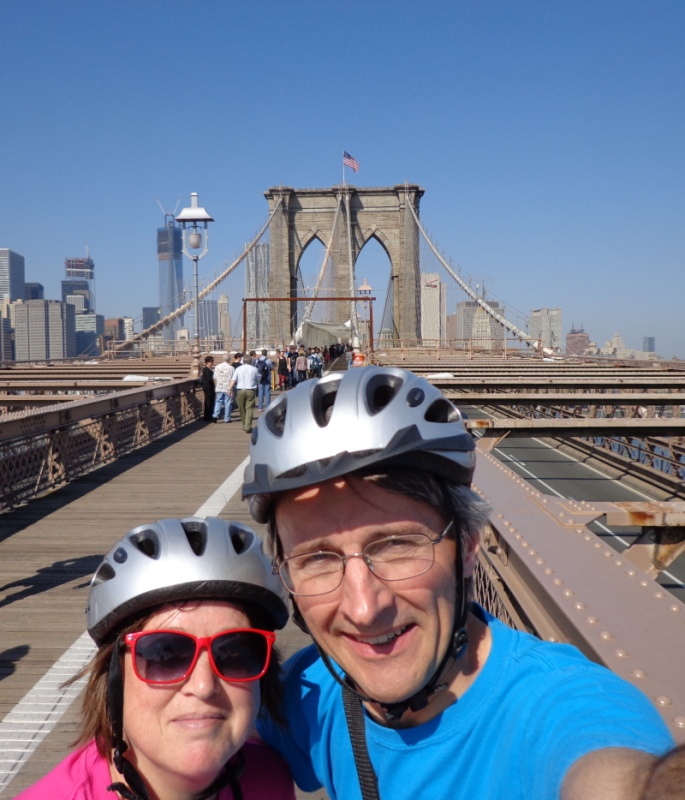 image of B and I on Brooklyn Bridge