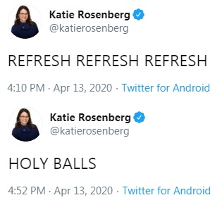 image of twitter post: Katie Rosenberg tweeting Holy Balls
