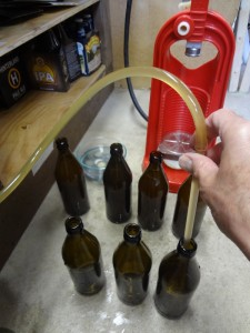 filling bottles with beer