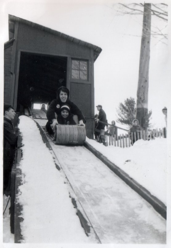 Mom & Pete on the toboggan run